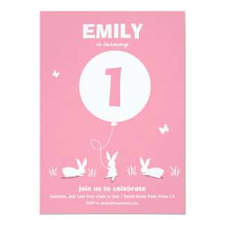 From Lucy: BUNNY BALLOON | Pink Kids Birthday Card