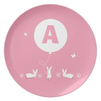 From Lucy: BUNNY BALLOON PINK | personalized kids Plates