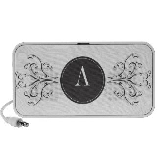 From Lucy: ELEGANT VINTAGE MONOGRAM   black iPod Speakers