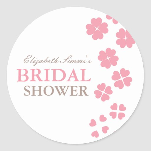 From Lucy: HEARTS & FLOWERS | bridal shower Round Sticker