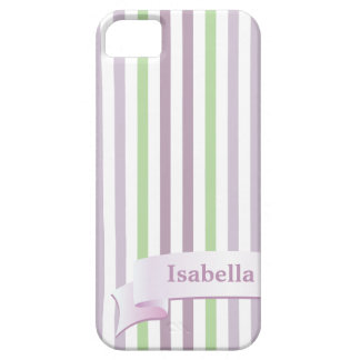 From Lucy: STRIPES LILAC & GREEN   Personalized iPhone 5 Case