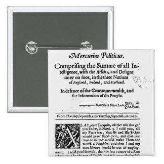 from 'Mercurius Politicus' 2 Inch Square Button