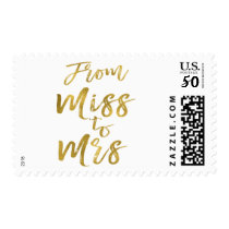 From Miss to Mrs Bridal Shower Party Gold Foil Postage