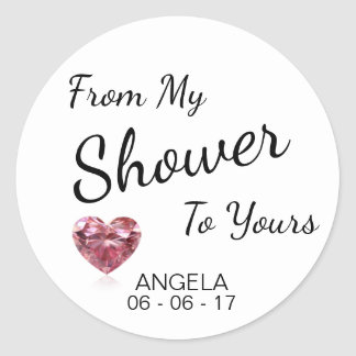 From My Shower To Yours Bridal Shower Black/White Classic Round Sticker