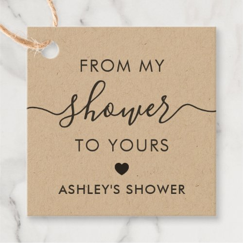 From My Shower To Yours, Bridal Shower Tag, Kraft Favor Tags