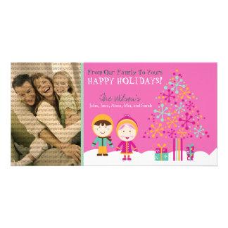 From Our Family Custom Holiday Photocard (fuchsia) Card