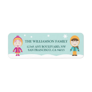 From-Our-Family Return Address Labels (aqua)