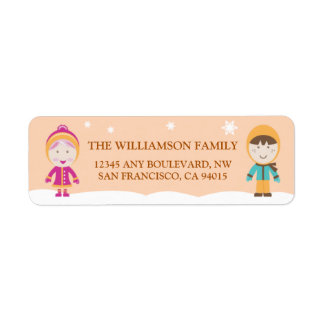 From-Our-Family Return Address Labels (peach)