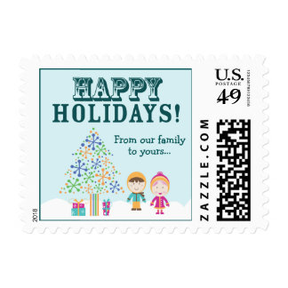 From-Our-Family-To-Yours Holiday Postage (aqua)