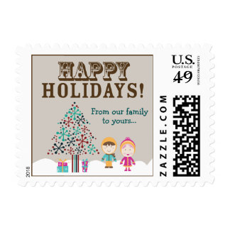 From-Our-Family-To-Yours Holiday Postage (brown)