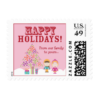 From-Our-Family-To-Yours Holiday Postage (pink)