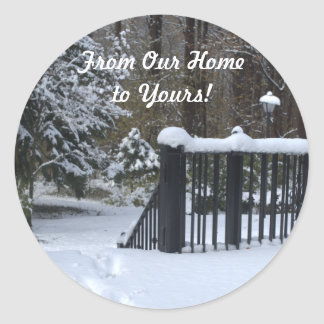From Our Home to Yours Snowy Winter Wonderland Classic Round Sticker