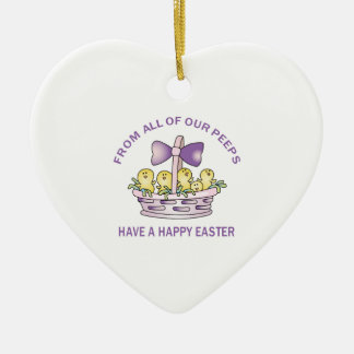 From Our Peeps Double-Sided Heart Ceramic Christmas Ornament