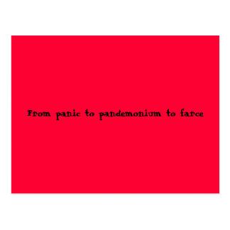 From panic to pandemonium to farce postcard