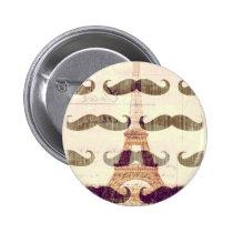 mustache, funny, paris, eiffel tower, vintage, france, retro, moustache, button, stache, humor, cool, hipster, unique, old fashioned, bro, memes, fun, internet memes, round button, Button with custom graphic design