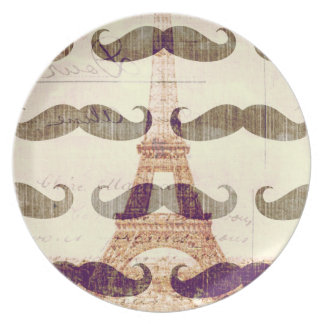 From Paris with mustache Dinner Plate
