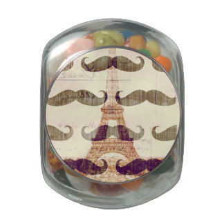 From Paris with mustache Glass Candy Jar