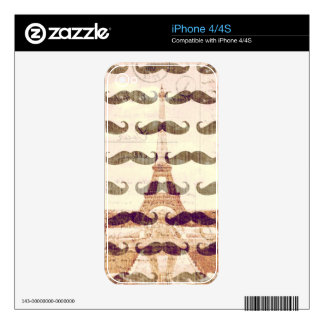 From Paris with mustache Skin For The iPhone 4