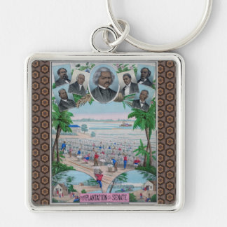 From Plantation To The Senate Silver-Colored Square Keychain
