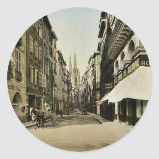 From Port Neuf, Bayonne, Pyrenees, France vintage Classic Round Sticker