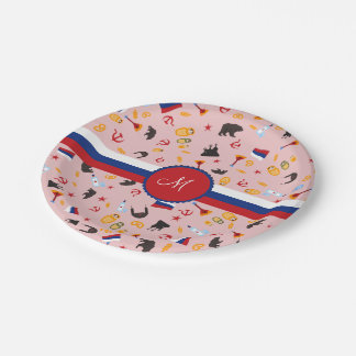 From Russia With Love- Russian Monogram Paper Plate