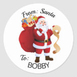 """From SANTA Gift Wrap Tags CUSTOM Kid's NAME<br><div class=""""desc"""">Add your child's name to these custom stickers (set of 20)</div>"""