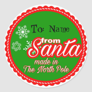 From Santa Personalized Classic Round Sticker