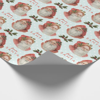 From Santa Vintage Christmas Holly Blue White Dots Gift Wrap