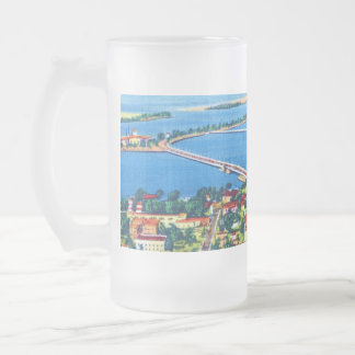 From the Air Miami Beach & Biscayne Bay, Florida 16 Oz Frosted Glass Beer Mug