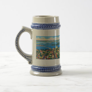 From the Air Miami Beach & Biscayne Bay, Florida 18 Oz Beer Stein