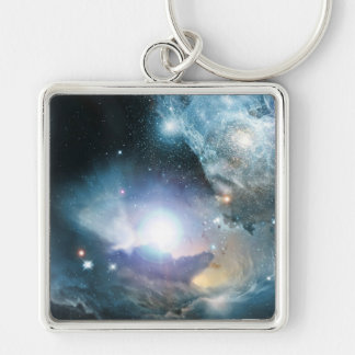 From the Ashes of the First Stars Silver-Colored Square Keychain