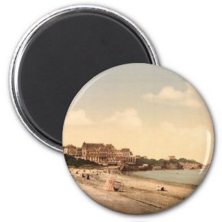 From the beach, Biarritz, Pyrenees, France 2 Inch Round Magnet