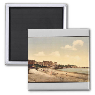 From the beach, Biarritz, Pyrenees, France vintage 2 Inch Square Magnet