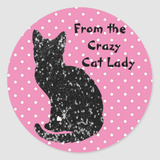 """From the Crazy Cat Lady"" Envelope Sealers Classic Round Sticker"