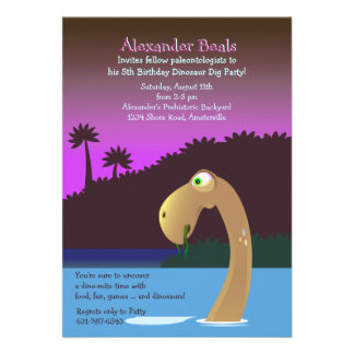 From the Deep Dinosaur Birthday Party Invitation