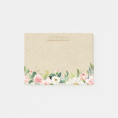 From The Desk Of Blush Pink Floral & Rustic Kraft Post-it Notes