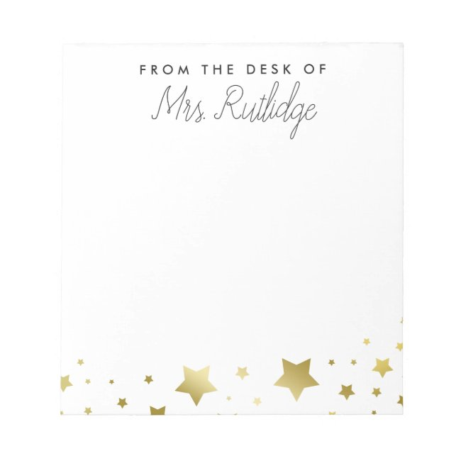 From the Desk of - Faux Gold Stars Notepad