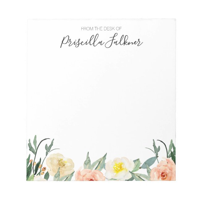 From The Desk Of Modern Coral Watercolor Flowers Notepad