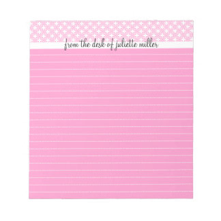 From the Desk Of Personalized Lined Notepad, Pink Memo Pad