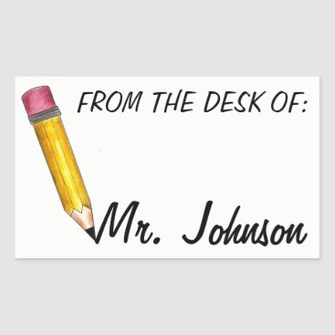 USA Themed From the Desk of Personalized School Teacher Rectangular Sticker