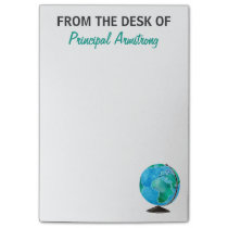 From The Desk of Principal School Watercolor Globe Post-it Notes