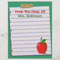 From The Desk Of...Teacher Letterhead Stationery