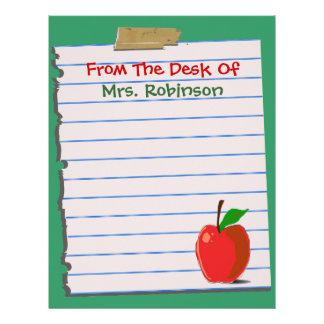 From The Desk Of...Teacher Letterhead Stationery