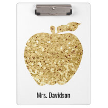 From The Desk Of Teacher Personalized Gold Apple Clipboard