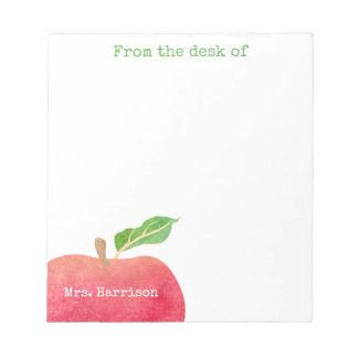 From The Desk of Teacher Red Apple Personalized Note Pad