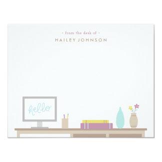 "From the Desk Stationery - Fuchsia 4.25"" X 5.5"" Invitation Card"