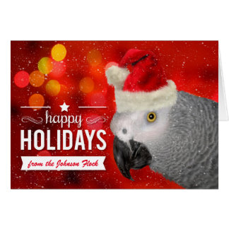 from the Flock Christmas African Grey Parrot Card