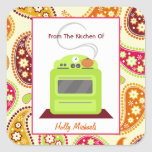 From The Kitchen Of...Bright Green Stove & Paisley Sticker