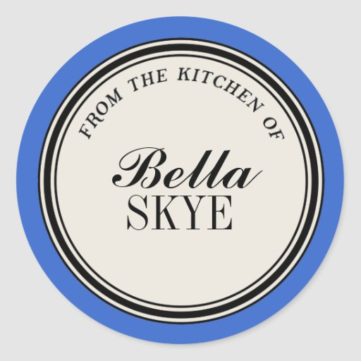 """""""From the Kitchen of"""" Circle Label Template, Blue Classic Round Sticker"""