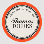 """""""From the Kitchen of"""" Circle Label Template Sticker"""